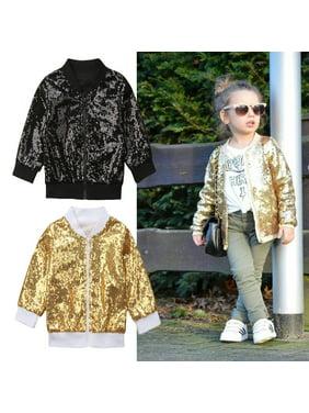 Fashion Toddler Kids Baby Girls Sequin Shining Zipper Tops Outwear Jacket Coat