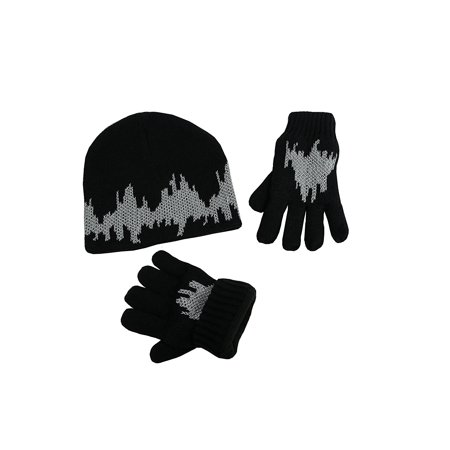 NICE CAPS Big Kids Boys Girls Glow in the Dark Sherpa Lined Cable Knit 2  Piece Hat Glove Winter Snow Accessory Set - Fits Youth Childrens Child  Sizes For ... 1fd6468e0d98