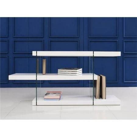 Il Vetro Glass Bookcase, White Lacquer - 29 x 55 x 13 in.