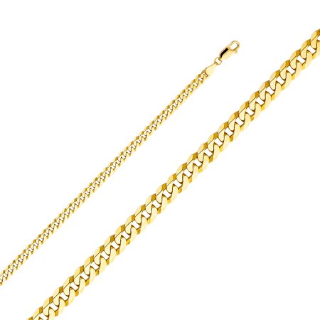 Solid 14k Yellow Gold 4.8MM Flat Cuban Beveled Chain Necklace With - 24 Inches