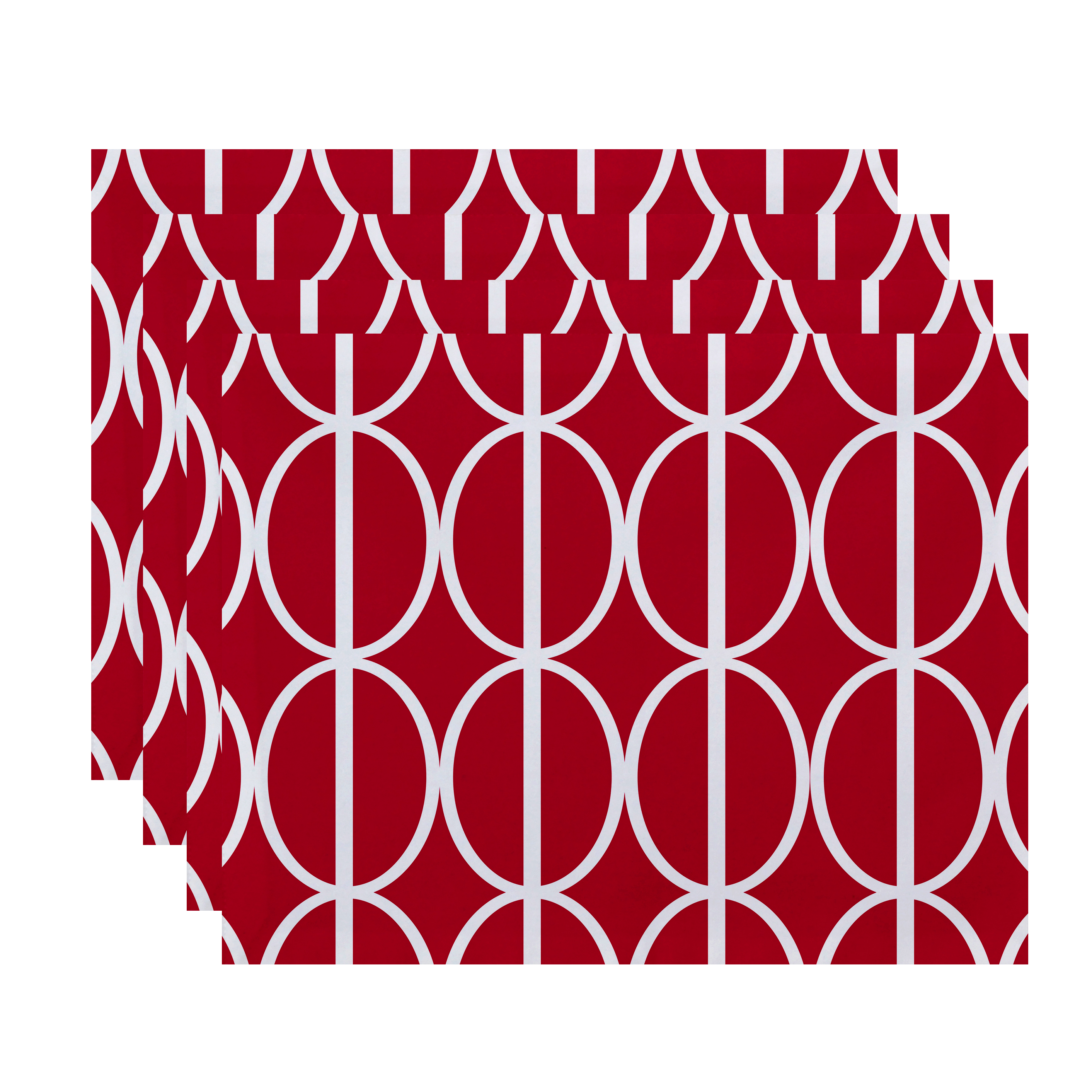 Simply Daisy, 18 x 14 Inch Ovals Go 'Round Geometric Print Placemat (set of 4), Pink/Fushcia