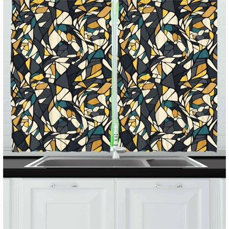 Contrast Diagonal Panel - Abstract Curtains 2 Panels Set, Fractal Formless Trippy Shapes in Contrast Tones Diagonal Mosaic Style Artsy Image, Window Drapes for Living Room Bedroom, 55W X 39L Inches, Multicolor, by Ambesonne