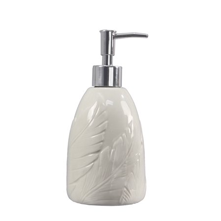 - Palm Leaf Lotion or Soap Dispenser Embossed Ceramic White Kitchen or Bath