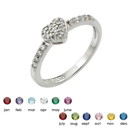 Clear Inlay Cubic Zirconia April Birthstone Heart Ring Sterling Silver Size (Sterling Silver Pink Shell Inlay)