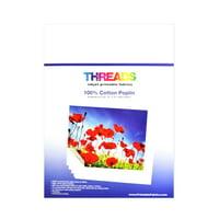 Threads Inkjet Printable Fabrics Cotton Poplin 13in x 19in