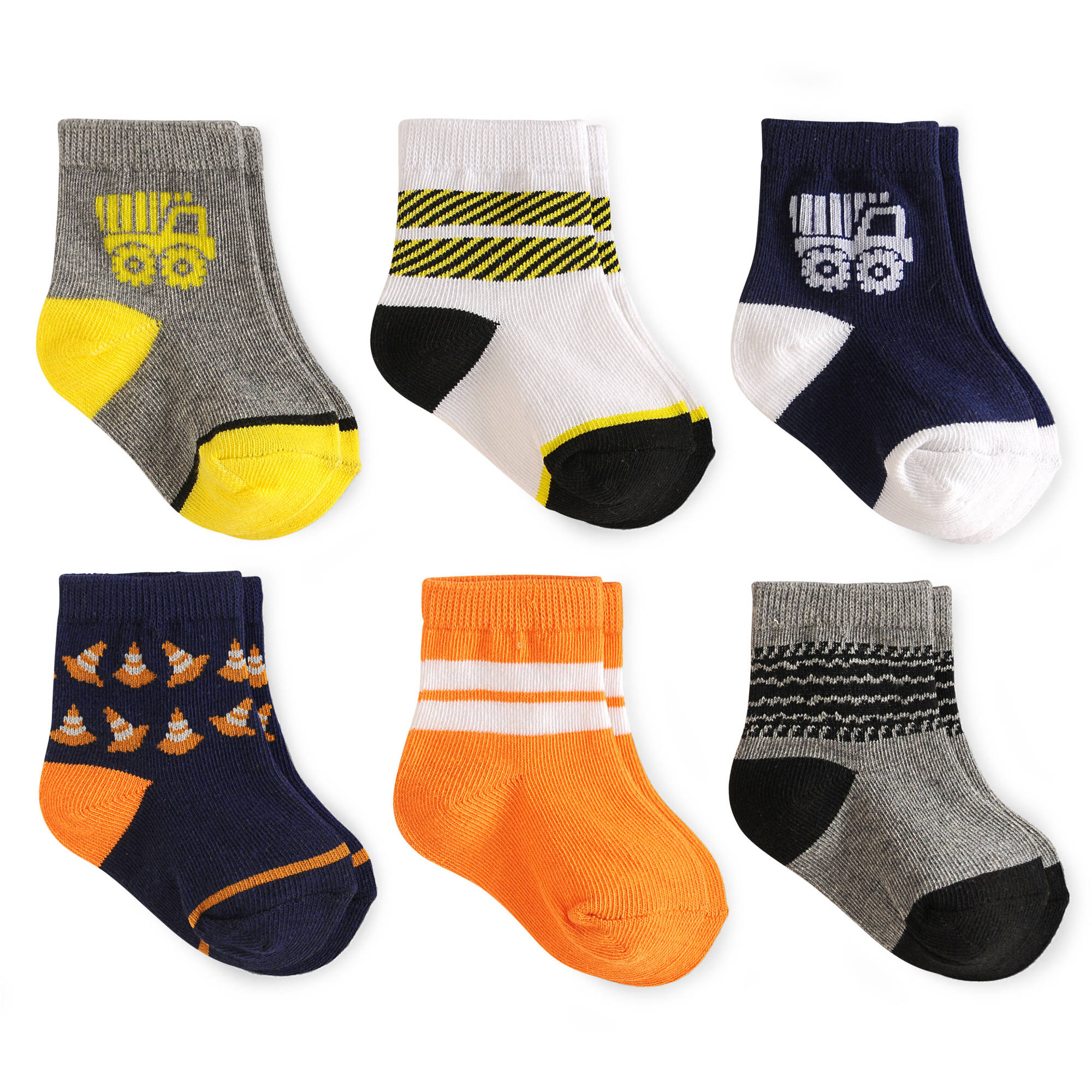 Garanimals Newborn Baby Boy Socks Ages, 6-Pack