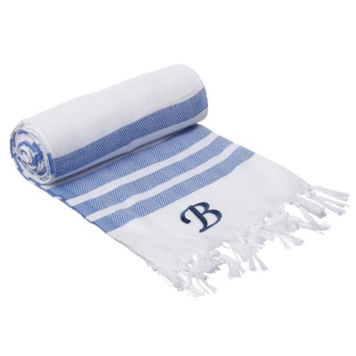 Authentic Royal Blue Bold Stripe Pestemal Fouta Turkish Cotton Bath/ Beach Towel with Monogram Initial B