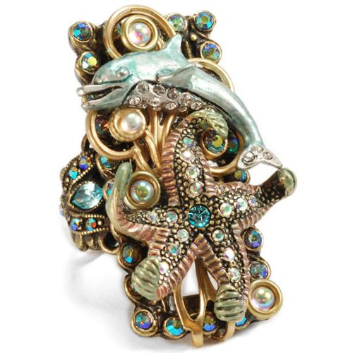 Sweet Romance  Dolphin and Starfish Nautical Ocean Ring