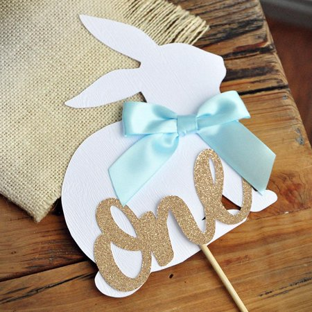 Peter Rabbit Cake Topper for 1st Birthday. Spring Boy First Birthday Ideas. Bunny One Cake Topper. - Ideas For Birthdays