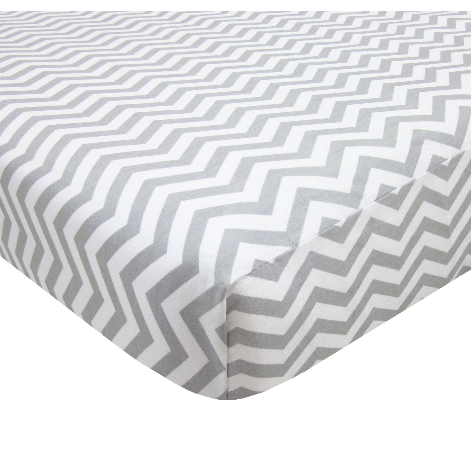 TL Care Cotton Percale Fitted Mini Crib Sheet, Grey Zigzag