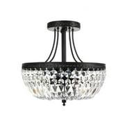 The Lighting Store Jessica Crystal Basket 3-light Antique Black Flush Mount Chandelier