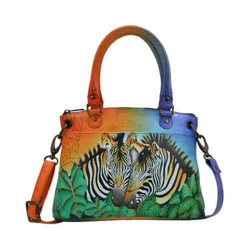 Women's ANNA by Anuschka Hand Painted Leather Small Satchel 8252 Zebra Safari OSFA (Zebra Print Shoulder Bag)