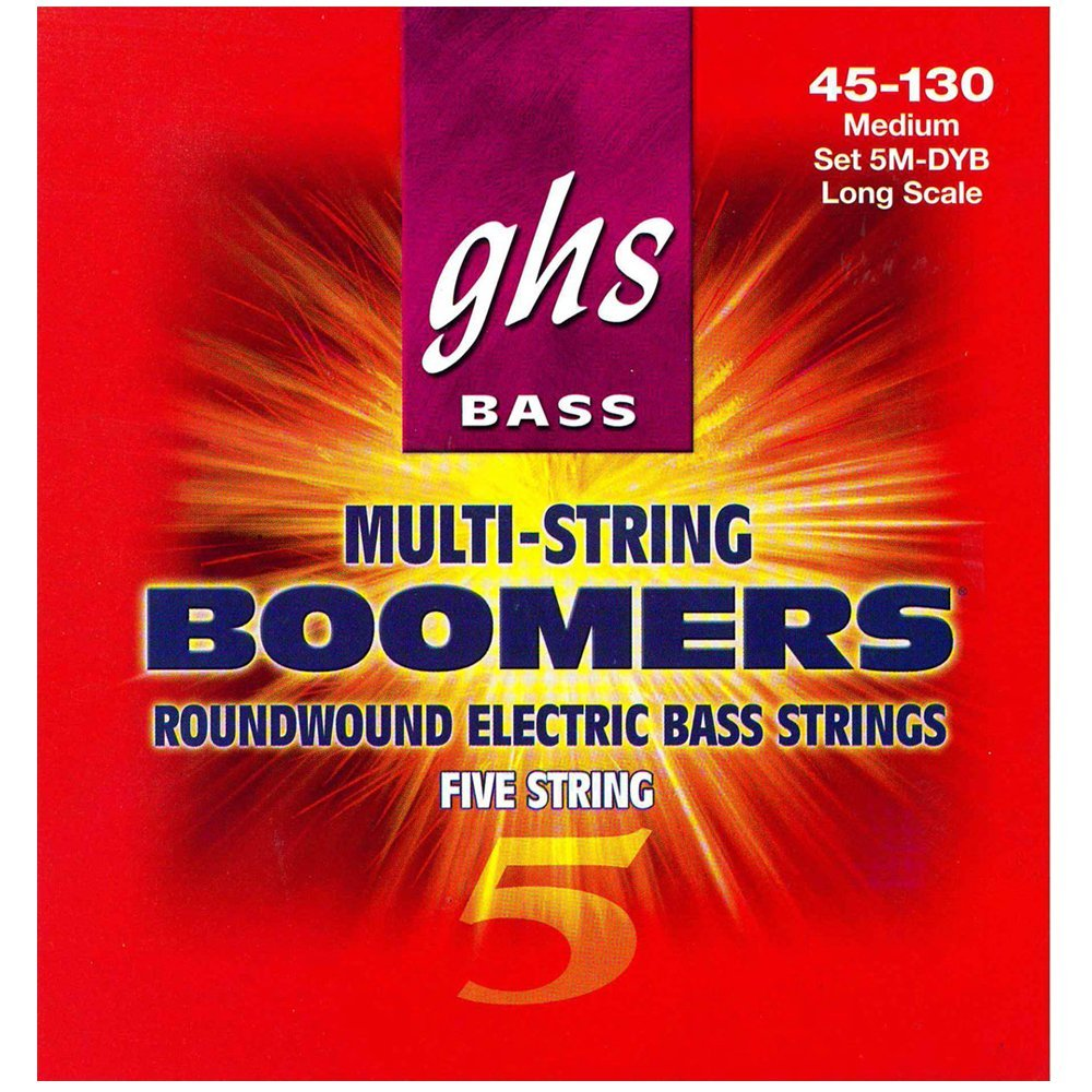 5M-DYB 5-String Bass Boomers, Nickel-Plated Electric Bass Strings, Long Scale, Medium... by