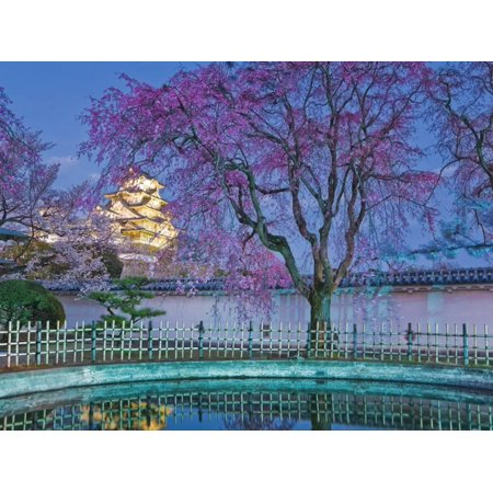 Himeji Castle Behind Blooming Cherry Trees at Twilight Print Wall Art By Rudy Sulgan ()