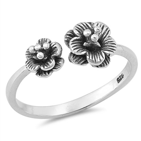 Open Plumeria Flower Beautiful Oxidized Ring 925 Sterling Silver Band Size 5