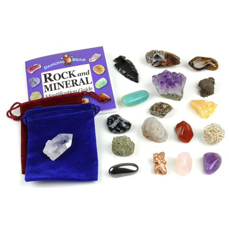 Rock and Mineral Geology Education Collection - 18 Pcs of Gem Stones w Identification book. Box and 2 Velvet Pouches Included! Geology Gem Kit for Kids Dancing Bear - Dig For Gems