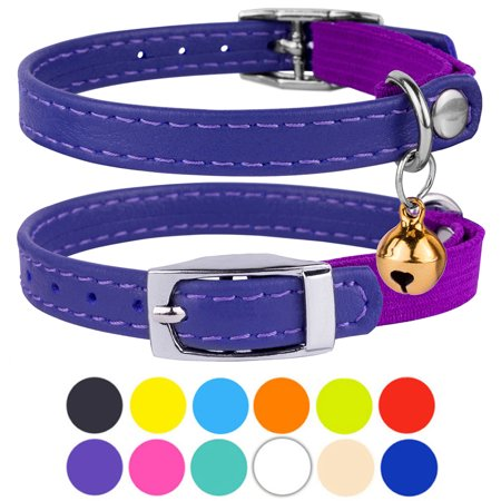 Leather Cat Collar Breakaway Safety Collars Elastic Strap for Small Cats Kitten with Bell, Purple ()