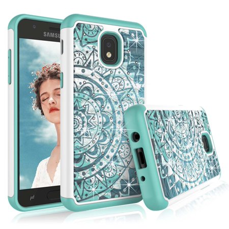 Galaxy J7 Refine Case, Galaxy J7 Crown Cute Case, SM-J737 Cover, Tekcoo Retro Pattern Lovely [Bling Datura Mint] Shock Absorbing Rubber Sturdy Plastic Defender Bumper Rugged Hard Sturdy Cover Cases](Plastic Bling)