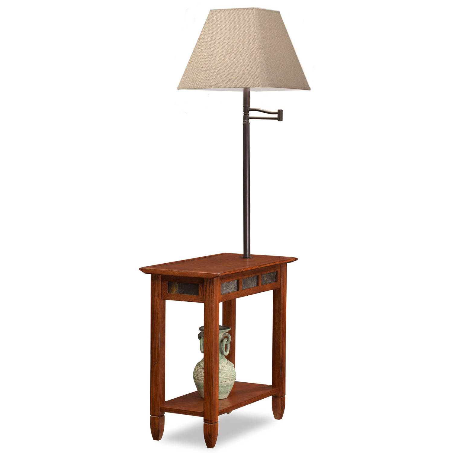 Leick Home Rustic Slate Chairside Lamp Table by Leick Furniture