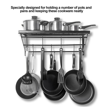 Ejoyous Black Metal Hanging Pan Pot Rack Wall Mounted with ...