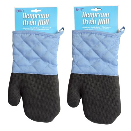 Set of 2 Heat Resistant Neoprene Oven Mitt Blue with (Heat Resistant Oven Mitts)