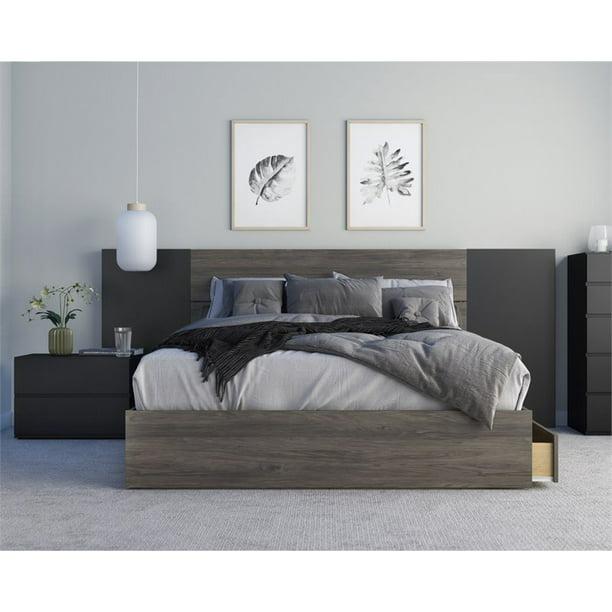 Amaro 4 Piece Queen Size Bedroom Set Bark Grey And Black Walmart Com Walmart Com