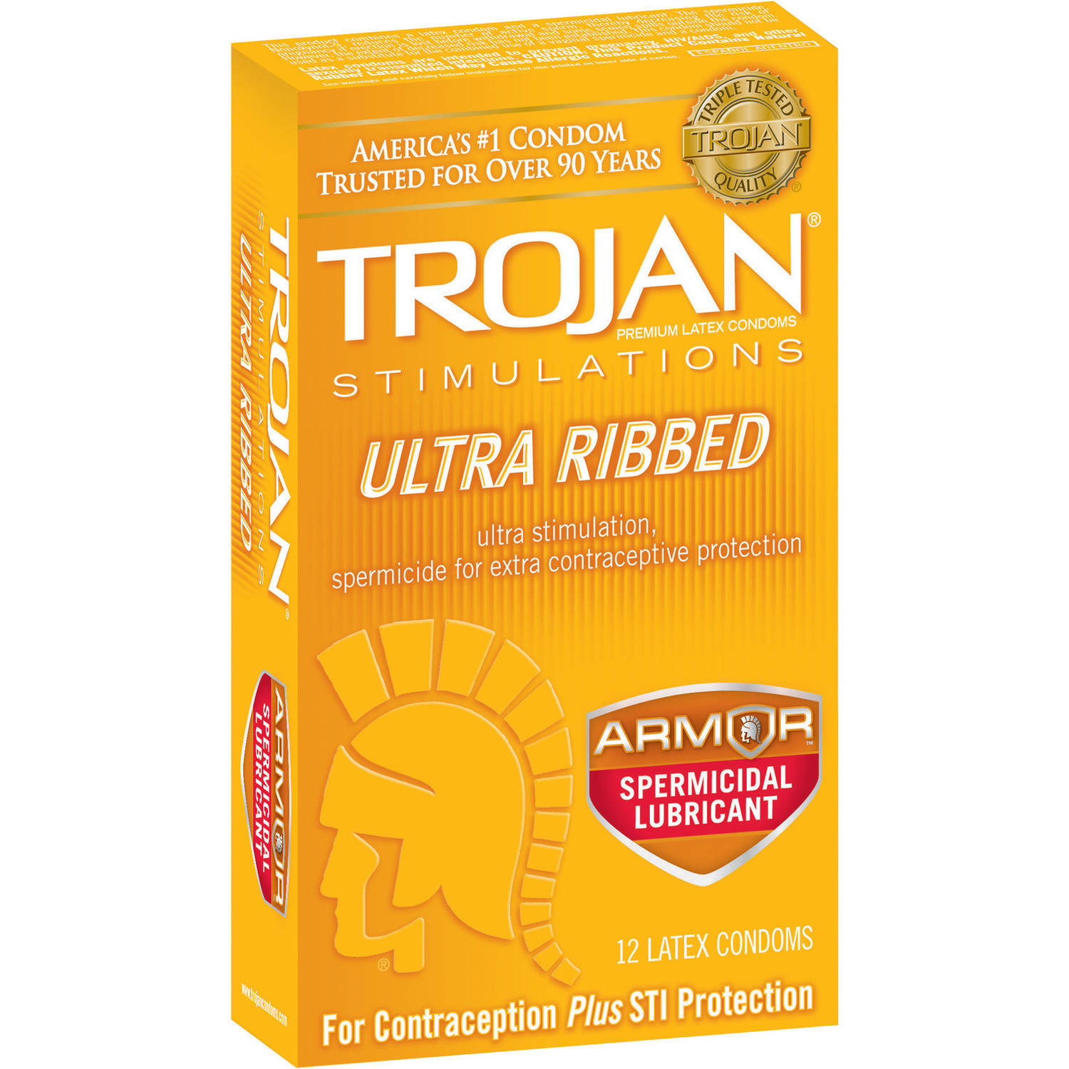 Trojan Stimulations Ultra Ribbed Armor Spermicidal Lubricant Latex Condoms, 12 count