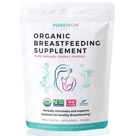 Pure Co USDA Organic Breastfeeding Supplement (Powder) Increase Milk Supply & Herbal Lactation Support - No Fillers - NON-GMO Aid For Mothers - Fenugreek Seed, Milk Thistle & Fennel Seed | 60 Grams (Breastfeeding Increase Milk)