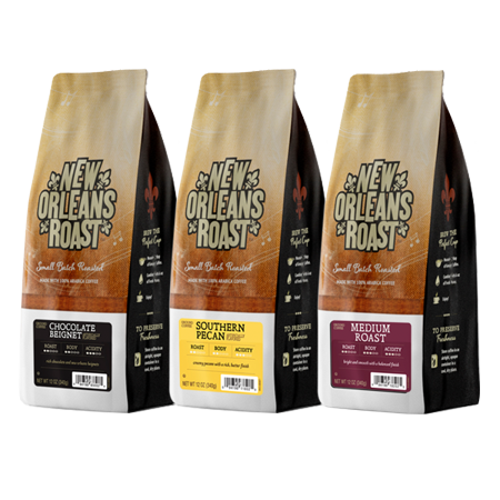 New Orleans Roast Coffee Variety 3-Pk 12 oz Ground (Medium Roast, Southern Pecan, Chocolate Beignet)