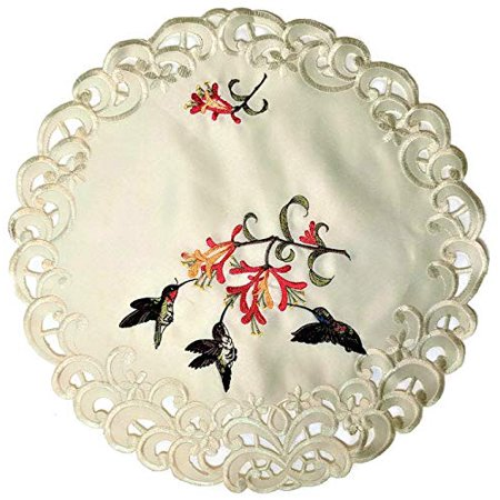 Doily Boutique Round Doily Embroidered with Hummingbirds on Ivory Material, Size 23 inches (Ivory Dollies)