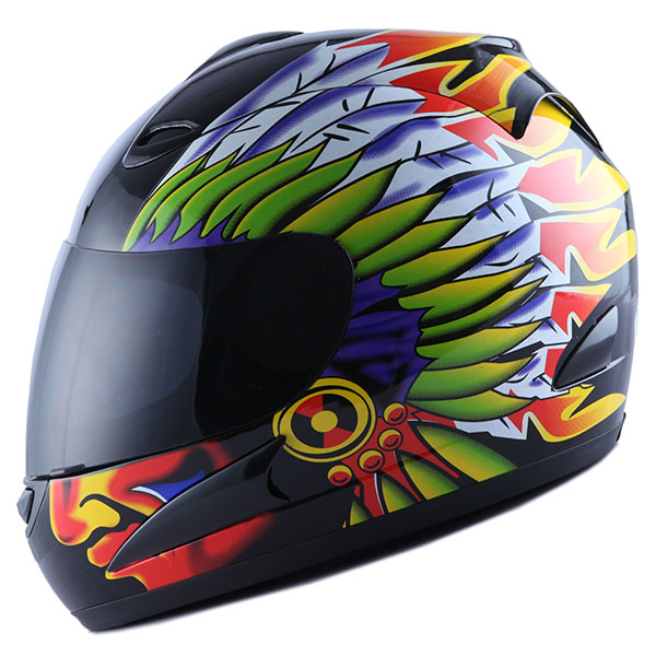 Motorcycle Full Face Helmet Adult Chief Indian Black