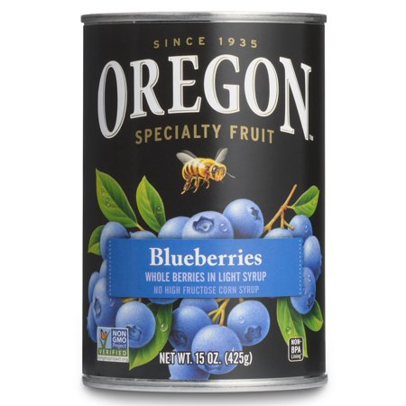 Blueberry Small Fruit ((4 Pack) Oregon Fruit All-Natural Blueberries in Light Syrup, 15 oz.)