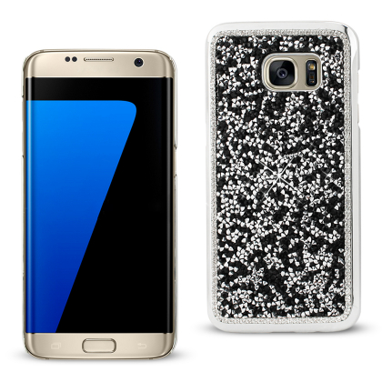 REIKO SAMSUNG GALAXY S7 EDGE JEWELRY BLING RHINESTONE CASE IN BLACK