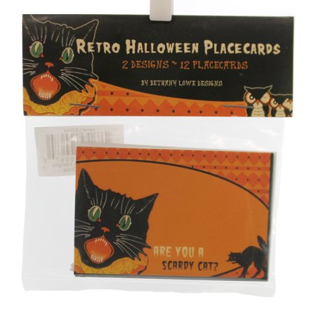 Halloween RETRO HALLOWEEN PLACECARDS Paper Table Bethany Lowe 2 Assorted Lg2644 (Halloween Food Table Ideas)