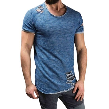 Short Sleeved Men's Casual T-shirt Holes Ripped Shirts - Ripped Up T Shirt For Halloween