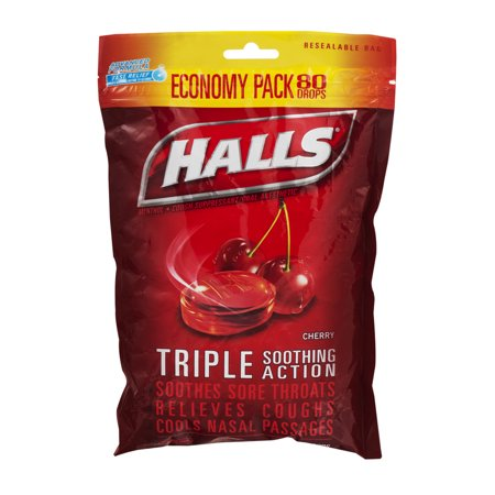 Halls Triple Action Soothing Cough Drops Cherry 80 Ct