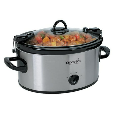 Crock-Pot Cook' N Carry Oval Manual Portable Slow Cooker, 6-Quart, Stainless Steel (SCCPVL600S)