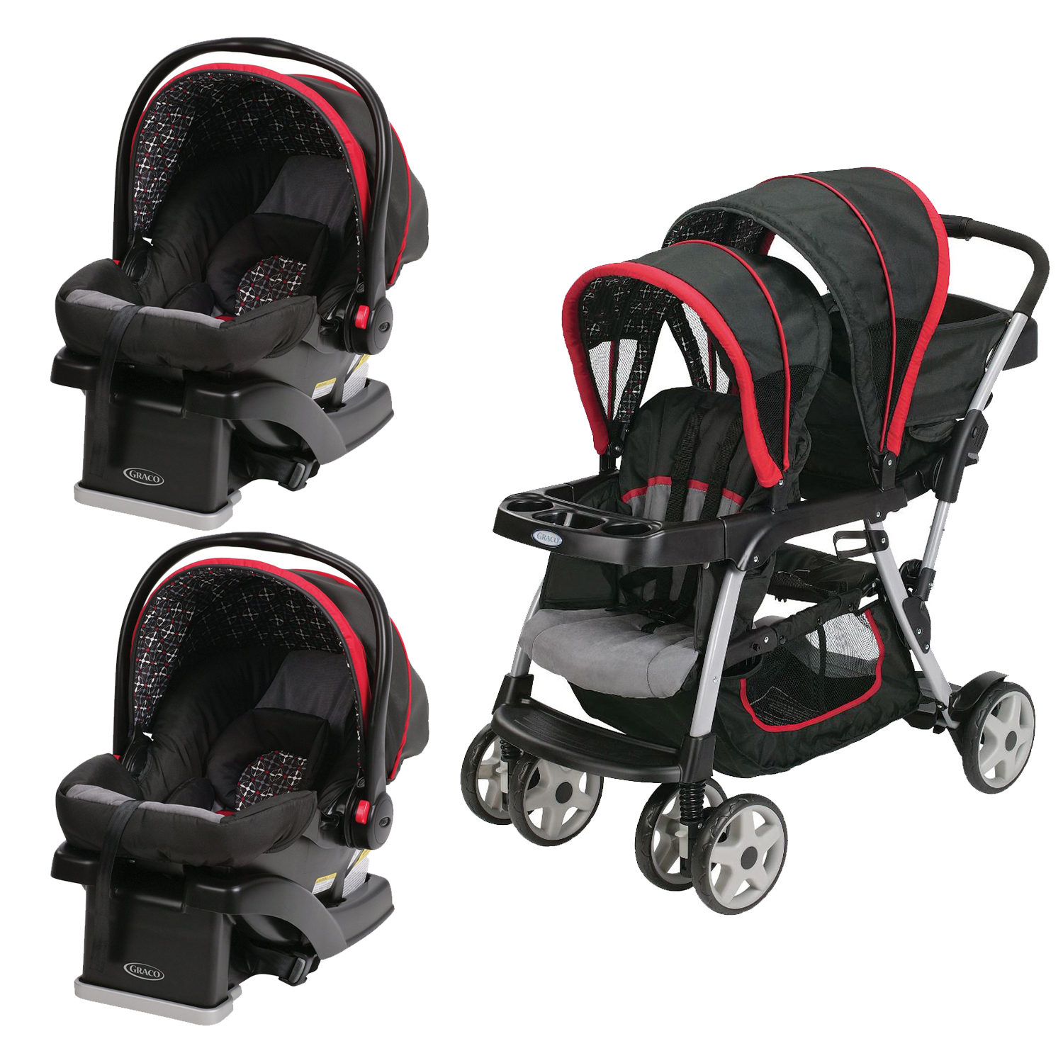 Graco Click Connect Double Seated Stroller and 2 Car Seat...