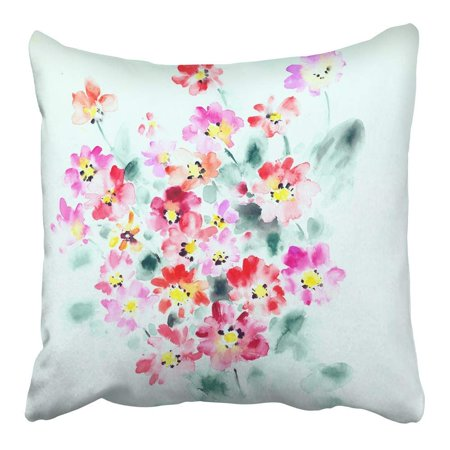 ARHOME Watercolor Blossom Flowers Bring Pure and Fresh Sense The Leaves and Design Ink Pillowcase Cushion Cover 16x16 inch (Design Sense Inc)