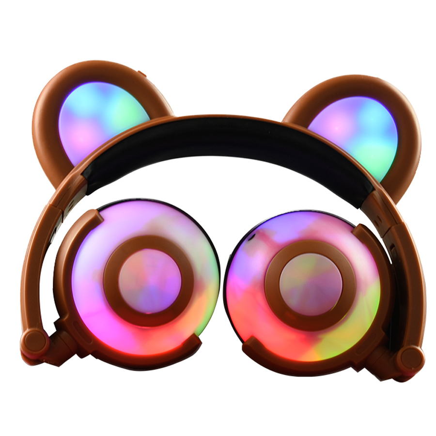 TechComm K9 Portable Panda Ear Glowing and Blinking LED Headphones