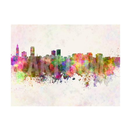 Baton Rouge Skyline in Watercolor Background Print Wall Art By paulrommer - Party Time Baton Rouge