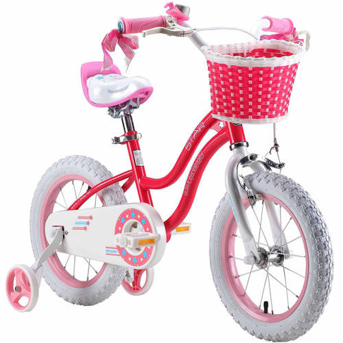 Royalbaby Stargirl Girl's Bike with Training Wheels and Basket, Perfect Gift for Kids. 14 Inch Wheels, Pink