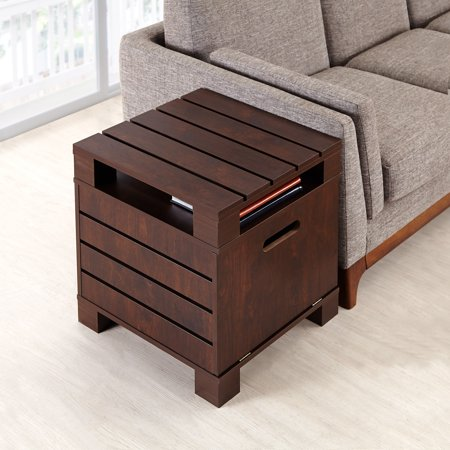 Furniture of America  Crete Walnut Vintage Drop-Down Door End Table
