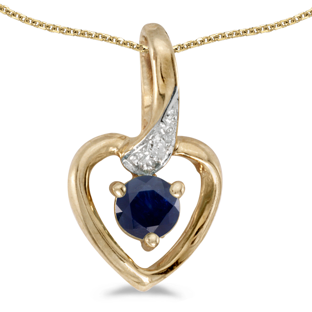 """10k Yellow Gold Round Sapphire And Diamond Heart Pendant with 18"""" Chain by"""
