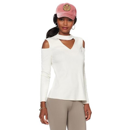 3253b3e13fcab5 Serena Williams - Serena Williams Ribbed Knit Cold-Shoulder Top 570-227 -  Walmart.com