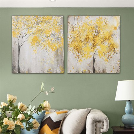 2Pcs Canvas Wall Art Oil Painting Picture Print Home Decor Gift 30x30cm Autumn Yellow Blossom Flower Trees -