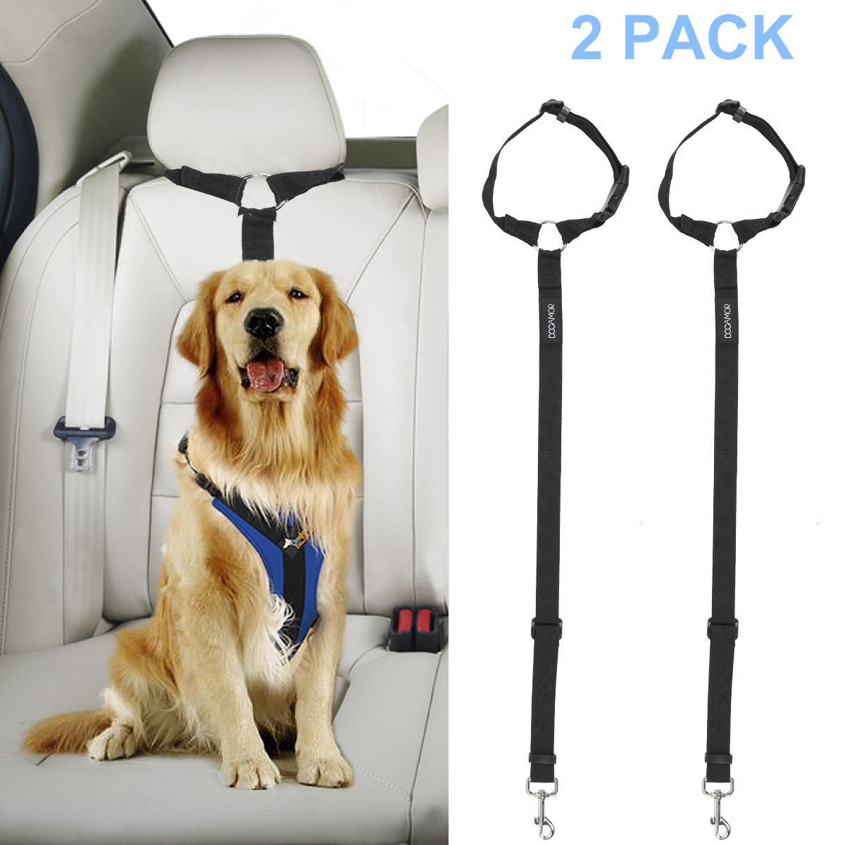 Adjustable Dog Seat Belt Dog Harness Pet Car Vehicle Seat Belt Pet Safety Leash Leads For Dogs/Cats Adjustable From 18 To 30 Inch Nylon Fabric Material Sapphire Blue