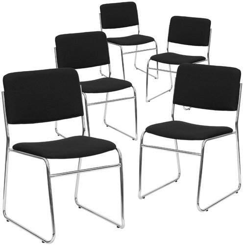 Flash Furniture 5pk HERCULES Series 1000 lb. Capacity Black Fabric High Density Stacking Chair with Chrome Sled Base