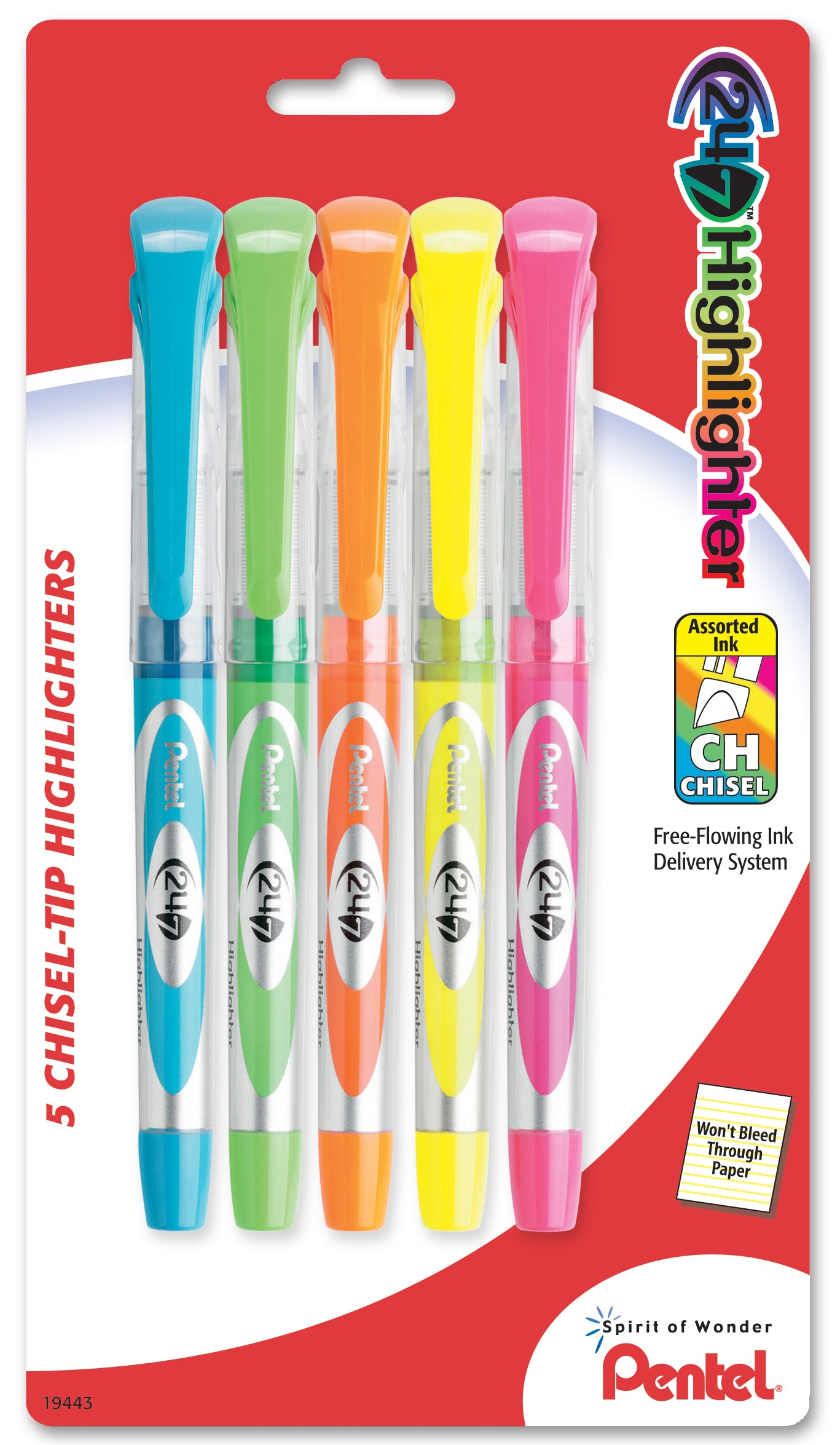 24 7 Liquid Highlighter, Chisel Tip, Assorted Ink (F G P K S), 5-Pk by Pentel