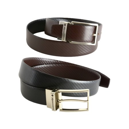 Alpine Swiss Mens Dress Belt Reversible Black Brown Leather Imported from (Etro Belted Belt)